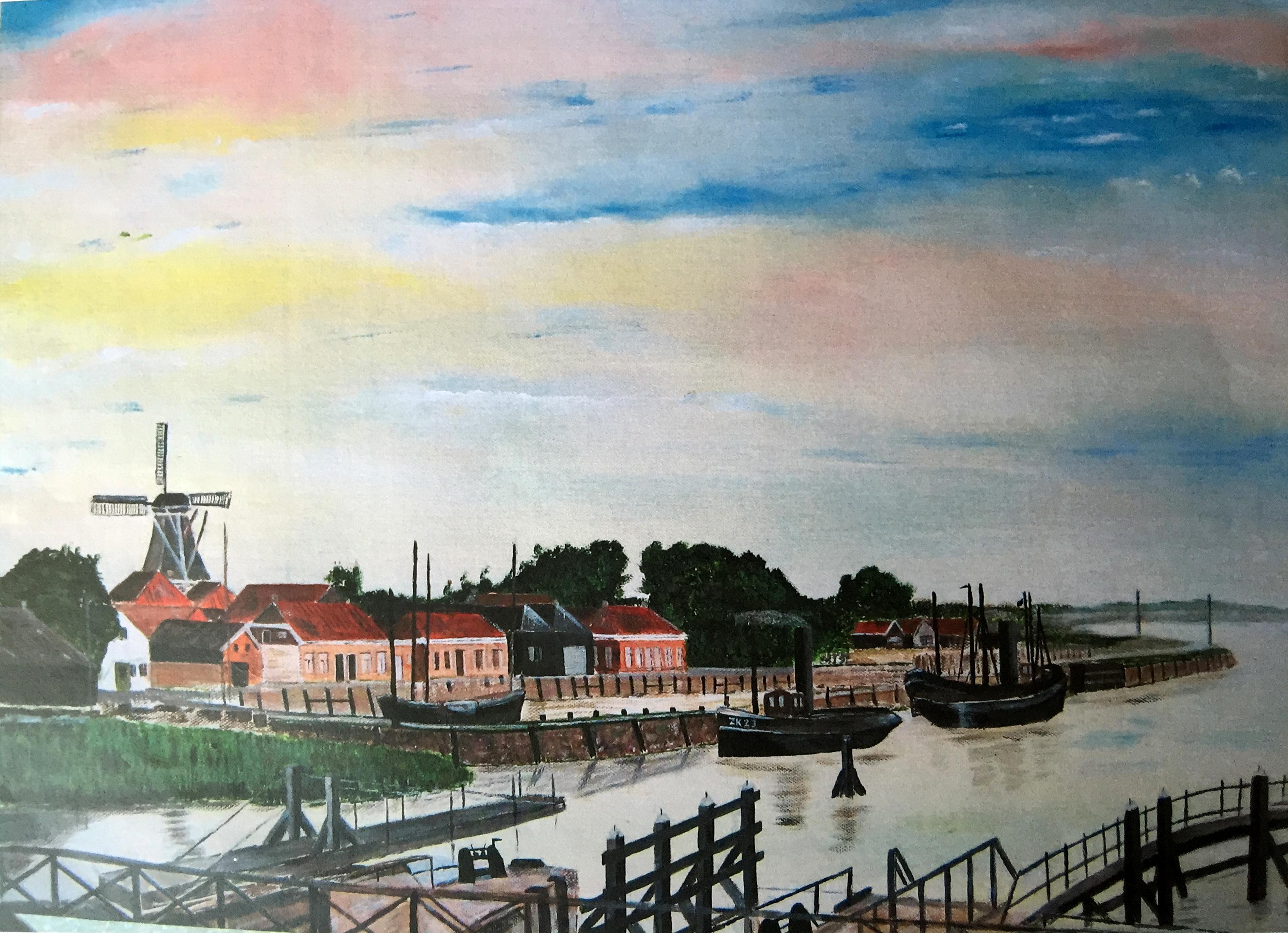 Schilderij Jan Egberts - Haven Zoutkamp rond 1900