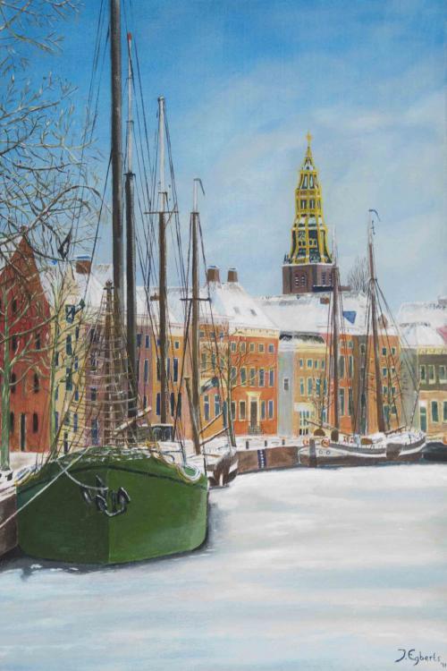 Stad Groningen Hoge der A - 2011 - Acryl schilderij