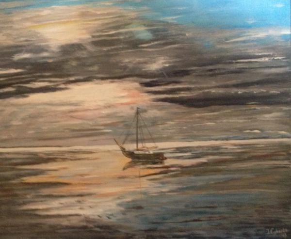 Drooggevallen boot op het Wad