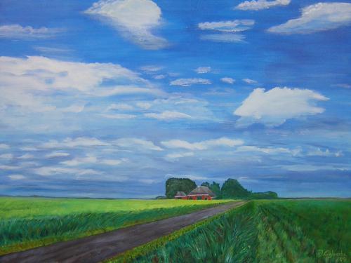 De polder bij Lauwerzijl - 2002 - olieverf schilderij