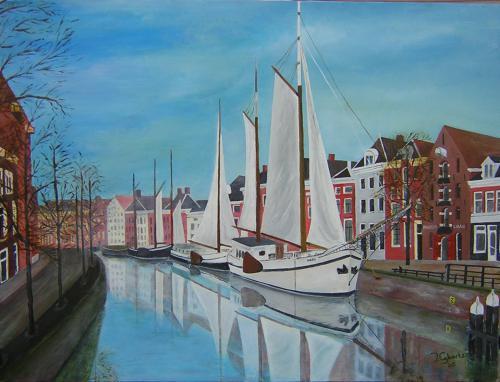 Hoge der A vanaf de A-brug - 2005 - Acryl schilderij